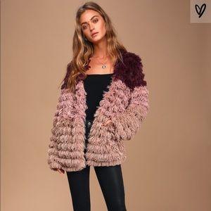 🎉MINKPINK Lost Weekend Purple Ombre Faux Fur Coat